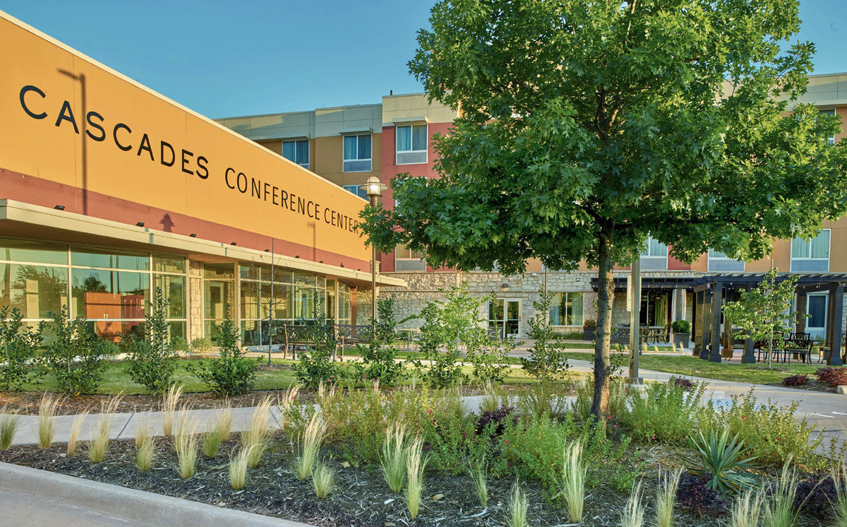Commercial landscape design for Cascades conference center in the Colony TX