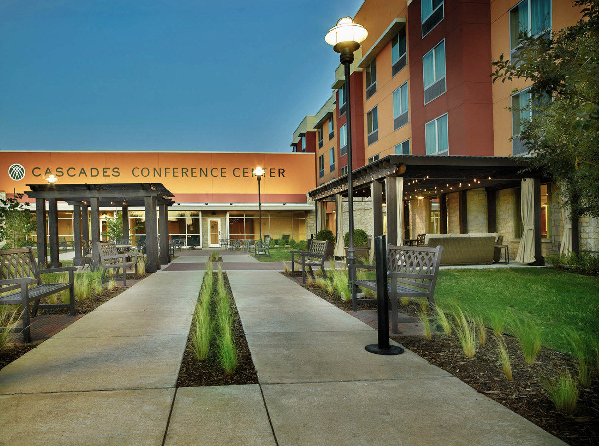 Commercial landscape design for Cascades Fairfield Inn & Suites in the Colony TX